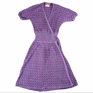 Vintage Missoni Purple Zig Zag Print Knit Dress
